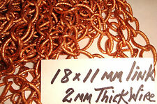 COPPER COATED  LARGE LINK CHAIN 18 x 11 mm  2 mm WIRE    JAPAN  CHAINS  12 ft