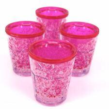 Freezer Shot Glasses Novelty SubZero Plastic Party Barware Set of 4 Pink or Blue