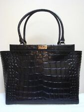 NEW KATE SPADE NEW YORK BLACK CROC EMBOSSED RIDGELY AVE BECKY LEATHER PURSE