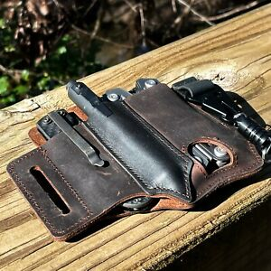 EDC Belt Leather Pouch Multitool Sheath Tools Flashlight Knife Tactical Pen