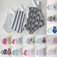 3Pcs Cute Infant Baby Kids Burp Feeding Saliva Towel Dribble Cotton Bandana Bibs