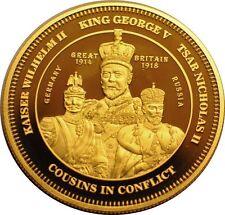 2014 Tristan da Cunha Large Gold plated 1 Cr World War I-King George,Kaiser,Tzar