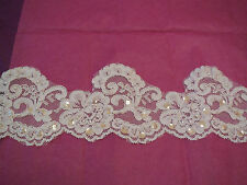 White sequins & beads English lace trim Bridal Wedding tulle Veil trim Per Yard
