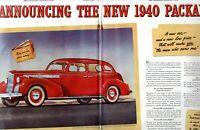 1940 2 PAGE / 3 SIDE ORIGINAL VINTAGE PACKARD CAR MAGAZINE AD