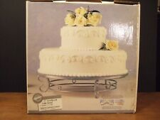 """Wilton 17"""" Scrollwork Wedding Cake Dessert Display Stand Vintage Silver 307-884"""