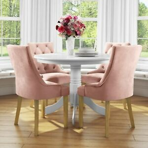 Small Round Dining Table in White with 4 Velvet Chairs in Pink  BUN/RHD010/70696