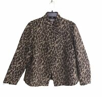 Chico's Womens Coat SZ 2 Leopard Print Long Sleeve Lined Brown Jacket Snap Front