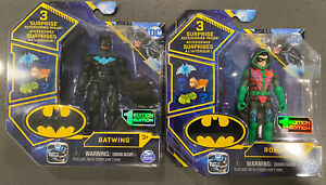 2021 Spin Master New Wave DC Bat Wing, Tech Robin Green Action Figures set of 2