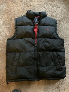 US Polo Association Puffer Vest Black and Red Jacket Size M