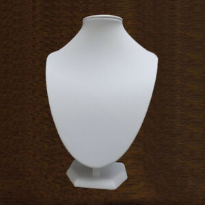 26 Cms WHITE FAUX LEATHER / LEATHERETTE NECKLACE JEWELLERY DISPLAY BUST SECOND