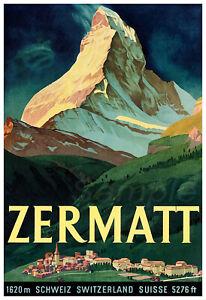 VINTAGE ZERMATT SWITZERLAND MOUNTAIN TRAVEL A3 POSTER PRINT