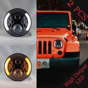 LED Jeep Wrangler Headlights Half Halos Wrangler JK TJ CJ LJ (PAIR)