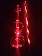 Crystal Acrylic Violin Red Led Electronic Violin Electro-acoustic Violin 4/4