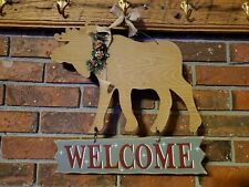 Cabin Decor Wood Holiday Moose  Welcome Sign