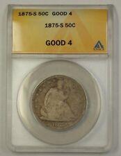 1875-S Seated Liberty Silver Half Dollar 50c Coin ANACS G-4