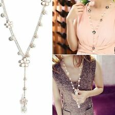Flower Pearl Sweater Necklace Long Chain Chains Jewelry for Ladies Female
