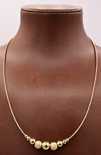 "18"" Italian Ball Satin Shiny Wheat Chain Necklace 14K Yellow Gold Clad Silver"