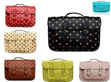 New Ladies Polka Dots,Spotty Satchel Magnetic uni,College,School a4 Shoulder bag