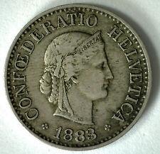 1883 Switzerland 10 Rappen Swiss Helvetia Copper Nickel 10 Cent Coin XF