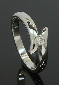 18 Carat White Gold Cross Over Diamond Ring 0.07ct Size O 18CT(70.18.086)