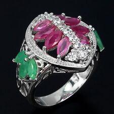 Ring Rubin Smaragd & CZ 925 Silber 585 Weißgold Gr. 59