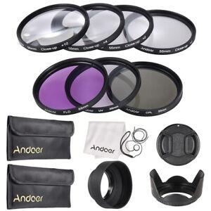 55mm UV+CPL+FLD+Macro Close-Up Filter Kit Set + Accessories for Canon Nikon J2T9