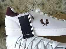 Nuevo UK 8 EU 42 Fred Perry Blanco De Cuero/malla Sneekers Zapatos Para Hombre Césped B5119