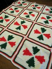 "CHRISTMAS KNITTED BLANKET afghan Vintage TREE Handmade Throw 45""x37"" Homemade"