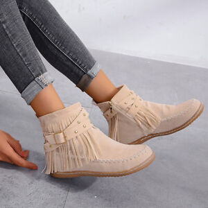 Faux Suede Tassels Ankle Boots Cowboy Flat Low Heels Zip Comfort Shoes Ladies
