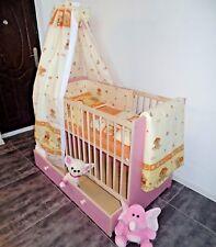 lit bébé Lit à barreaux lit enfant set complet tiroir 5 couleurs rose blanc