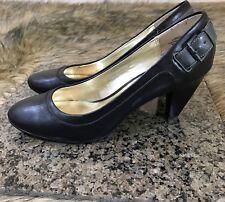 Nine & Co Sz 7.5 M Black Leather Classic Career Pumps Heels Buckle Detail Heel