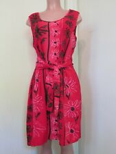 JAMS WORLD RAYON RED/BLACK FLORAL PRINT SLEEVELESS JOLIE TUNIC DRESS, SIZE L