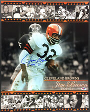 JIm Brown SIGNED 16x20 Photo + HOF 71 Cleveland Browns PSA/DNA AUTOGRAPHED RARE