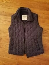 Women's Abercrombie and Fitch Cloth Quilted Vest Sz Medium Navy Blue