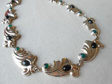Vintage Mexico Sterling Silver Onyx Green Stone Link Necklace   296289