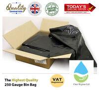 BLACK EXTRA HEAVY DUTY REFUSE BAGS SACKS BIN LINERS RUBBISH BAG UK 250G QUALITY
