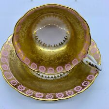 ANTIQUE CUP SAUCER SET ROYAL STAFFORD PINK DAISY FLOWER GOLD GARLAND SCALLOPED