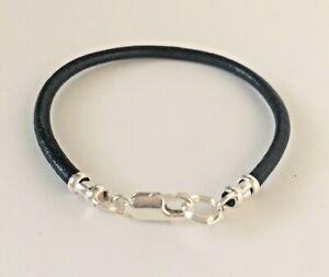 Boys Black / Brown Leather & 925 Sterling Silver Bracelet, Kids Thong Bracelet
