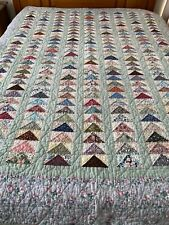 """Vintage Hand Crafted & Quilted Flying Geese Quilt 67"""" x 86"""" Twin sz #148"""