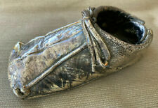 Silver Dipped Baby Shoe 4385 Tarnished Hole Leather Bootie Silverplate Real Boot