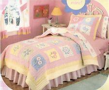 New Window Box Pink Flower Girls Kids Bedding Quilt Sham Valance Sheet Set, FULL