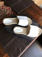 Saks Fifth Avenue White Leather Espadrille Size 10