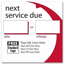 "1000 Automotive ""Next Service Due"" Static Cling Labels Nebs/Deluxe No. 58163"