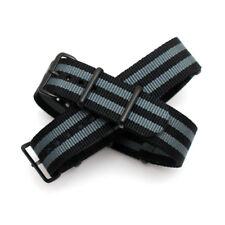 Black / Grey Stripe Nato Strap: Black PVD Buckle : 19mm, 20mm, 21mm, 22mm (FL203