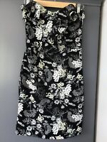 Miss Selfridge Womens  Strapless Dress Frills Black And White Size 8 Night Out