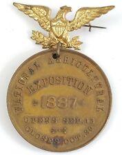 1887 National Agriculture Exposition pin medal Badge Souvenir Kansas City Rare