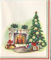 VINTAGE CHRISTMAS TREE CANDLES FIREPLACE HOLLY BERRY PLANTS COZY ART CARD PRINT