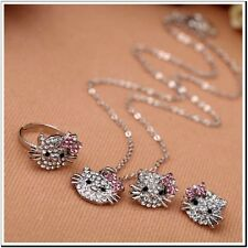 Cute Hello Kitty Full Rhinestone Earrings , Necklace and Ring Jewelry Set