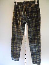 Vntg 1990s Green Tartan Plaid Pencil Flood Pants Punk Skinny Retro Velvet Slacks