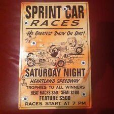 """Sprint Car Races New METAL """"Garage Art"""" Sign"""